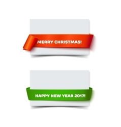 Merry Christmas paper roll banners with realistic vector image vector image