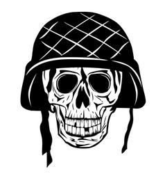 skull in an army helmet vector image vector image