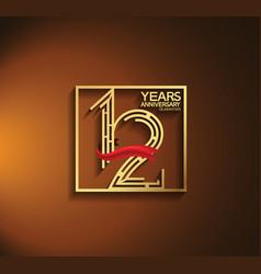 12 years anniversary logotype golden color vector
