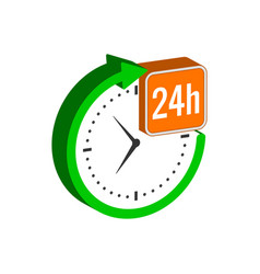 24 hours service symbol flat isometric icon or vector