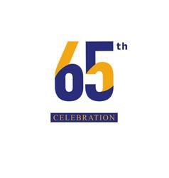 65 th anniversary celebration orange blue vector