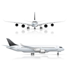Airliner front side realistic view vector