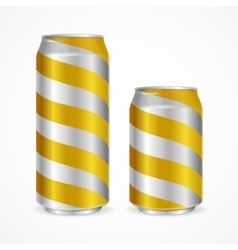 Aluminium Cans with Yellow Stripes vector image