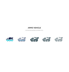 Armo vehicle icon in different style two colored vector