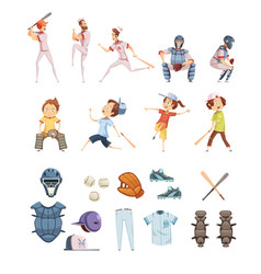 Baseball cartoon retro style icons set vector