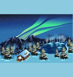 beautiful winter season nature landscape vector image