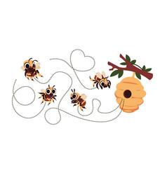 Bee trace cartoon flying honeybee dash route vector
