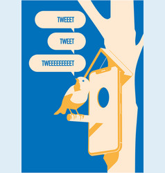 blue bird tweet mobile devise on tree more vector image