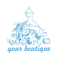 boutique dress gown logo design template vector image