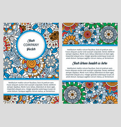 brochure design with blue floral background vector image