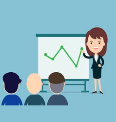 business woman presents with board in seminar vector image