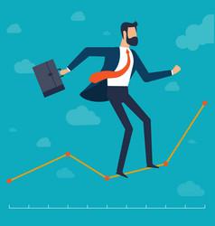 Businessman walking i along chart line vector