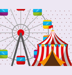 circus tent ferris wheel carnival fun fair vector image