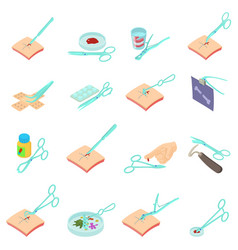 Clinical research icons set isometric style vector