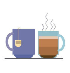 Colorful background with set hot coffee cup and vector