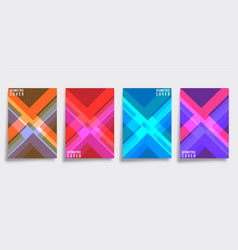 Colorful geometric cover template set vector