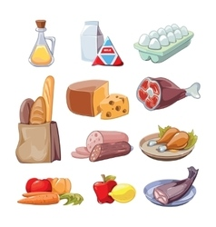 Common everyday food products cartoon vector image