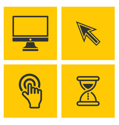 computer black pictograms on yellow vector image