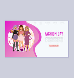 cool girls fashion web template young vector image