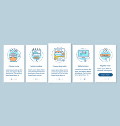 Cruise booking onboarding mobile app page screen vector