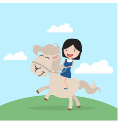 cute little girl riding on a horse cartoon vector image