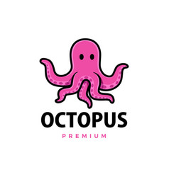 cute octopus cartoon logo icon vector image