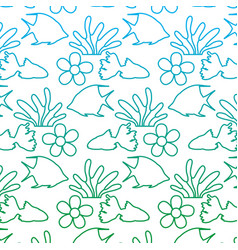 Degraded line tropical flower and plant leaves vector