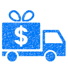 Dollar gift delivery grunge icon vector