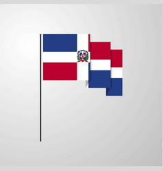 Dominican republic waving flag creative background vector