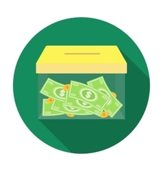 Donation moneybox icon in flat style isolated on vector