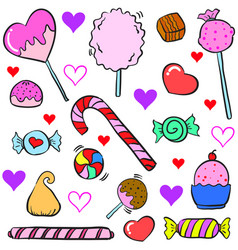 doodle of colorful candy object design style vector image