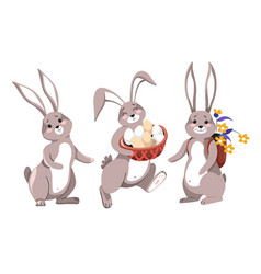 easter rabbit with painted eggs and flowers vector image