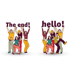 end and hello sign team group business people vector image