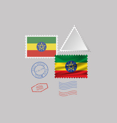 Ethiopia flag postage stamp set isolated on gray vector
