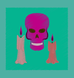 Flat shading style icon candle skull vector