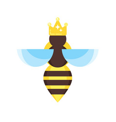 Flat style of queen bee vector