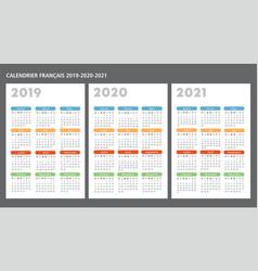 French calendar 2019-2020-2021 template vector