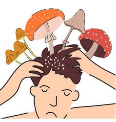 Fungal diseases scalp vector