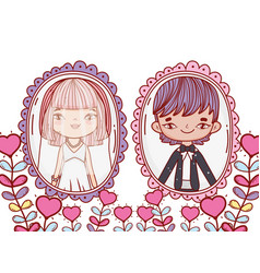 Girl and boy marriage pictures with heart plants vector