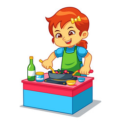 Girl cooking to make delicious food vector