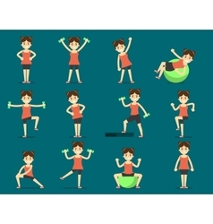 Girl plays sports Beautiful body Set Exercise vector
