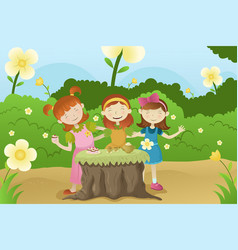 Girls having a garden party vector