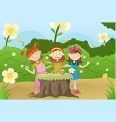 girls having a garden party vector image