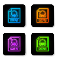 glowing neon mp3 file document icon download mp3 vector image