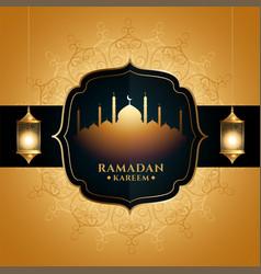 Golden ramadan kareem greeting with mosque vector