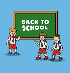 group of boy back to school vector image