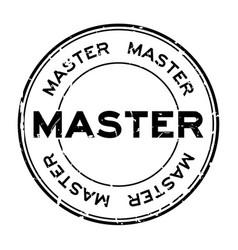 Grunge black master word round rubber seal stamp vector