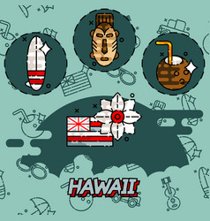 Hawaii flat concept icons vector