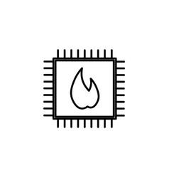 hot processor icon vector image