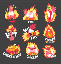 hot spicy fire chicken set creative logo design vector image